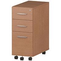 Tall Slimline 3 Drawer Under Desk Mobile Pedestal Beech