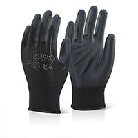 Click2000 Economy PU Coated Work Gloves Size M Black Pack of 100 Pairs Ref EC9BLM