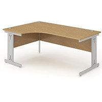 L-Shaped Corner Left Hand Cable Managed Silver Leg Office Desk Oak W1600mm