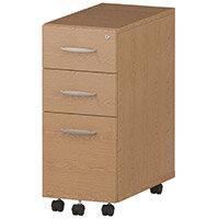 Tall Slimline 3 Drawer Under Desk Mobile Pedestal Oak