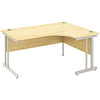 L-Shaped Corner Right Hand Double Cantilever Silver Leg Office Desk Maple W1600mm