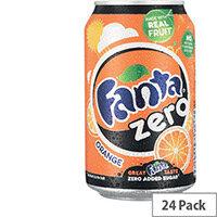 Fanta Zero Sugar Sparkling Orange Fruit Drink Cans 330ml Pack of 24