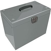 Home File with 5 Suspension Files 2 Keys and Index Tabs Steel Foolscap Silver