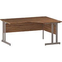 L-Shaped Corner Right Hand Double Cantilever Silver Leg Office Desk Walnut W1600mm
