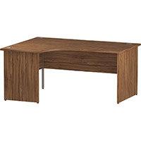 L-Shaped Corner Left Hand Panel End Office Desk Walnut W1600mm