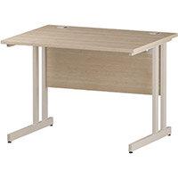 Rectangular Double Cantilever White Leg Office Desk Maple W1000xD800mm
