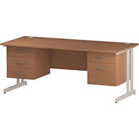 Rectangular Double Cantilever White Leg Office Desk With 2 Fixed Pedestals 3/2 Drawer Beech W1800xD800mm