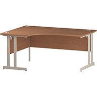 L-Shaped Corner Left Hand Double Cantilever White Leg Office Desk Beech W1600mm