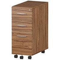 Tall Slimline 3 Drawer Under Desk Mobile Pedestal Walnut