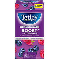 Tetley Super Green Tea BOOST Raspberry & Blueberry with Vitamin B6 Ref 4692A Pack of 25