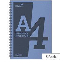 Silvine A4 Notebook Wirebound Polypropylene 60gsm 160pp Assorted Pack of 5