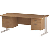Rectangular Double Cantilever White Leg Office Desk With 2 Fixed Pedestals 3/2 Drawer Oak W1800xD800mm