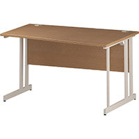 Wave Double Cantilever White Leg Right Hand Office Desk Oak W1400mm