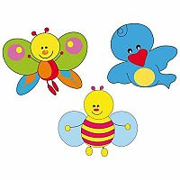 Wall Decoration & Interactive Play Cardboard Cut Outs - Butterfly, Bee & Bird
