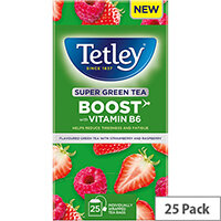 Tetley Super Green Tea BOOST Strawberry & Raspberry with Vitamin B6 Ref 4690A Pack of 25
