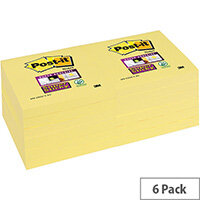 Post-it Super Sticky Removable Notes Pad 90 Sheets 76x76mm Canary Yellow 6 Pk Ref 654S6