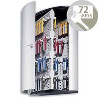 Durable Key Safe Cabinet 72 Key Capacity Silver