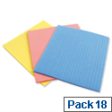 5 Star Facilities Sponge Cloths Cellulose 180x180mm Assorted Colours Pack of 18