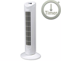 Tower Fan With Timer Oscillating 3-Speed 120 Minute Timer H762mm White