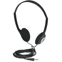 Manhattan Stereo Headphones with Adjustable Headband - For Music, Multimedia - 3.5mm Stereo Jack, Cable 2.2 m (6.5 ft.) - Black