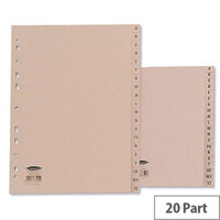 Concord Manilla Index A4 A-Z 20-Part Subject Dividers Buff 11-Hole 78202/AZ2