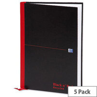 Black n Red A4 Recycled Book L67019 Casebound 192 Pages Pack 5