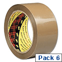 Scotch Buff Low Noise Packing Tape 48mm x 66m (6 Pack)