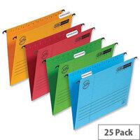 Elba Vertic flex Suspension File Green Foolscap 240gsm L901210 Pack 25