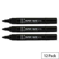 Paper Mate M15 Black Permanent Marker Bullet Tip Pack 12