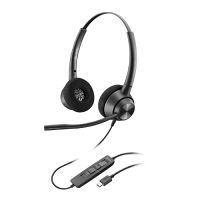 Plantronics POLY EncorePro 320 USB Headset - Boom Microphone, Noise Cancelling, Comfortable - USB Port, Stereo Binaural, Lightweight - Black