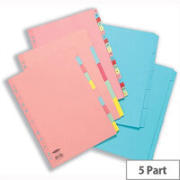 Concord 5-Part Subject Dividers Reinforced A4 Assorted