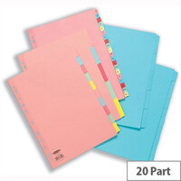 Concord Pastel A4 20-Part A-Z Reinforced Subject Dividers