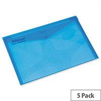 Rexel Carry Folder A4 Plastic Transparent Blue Pack 25