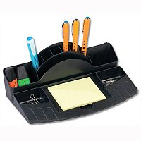 Multicompartment Desk Tidy Black with Ruler Slot Avery Mainline