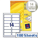 Avery 14 Per Sheet Multifunction Labels 105x42.3mm (1400 Labels)