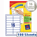 Avery L7162-100 Address Labels Laser 16 per Sheet 99.1x33.9mm White 1600 Labels