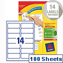 Avery L7163-100 Address Labels Laser 14 per Sheet 99.1x38.1mm White 1400 Labels