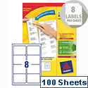 Avery L7165-100 Address Labels Laser 8 per Sheet 99.1x67.7mm White 100 Sheets