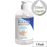 250ml Pump Hand Sanitiser - Fully Approved Ethanol Based Sanitising Liquid PCS 100380 Pack of 1