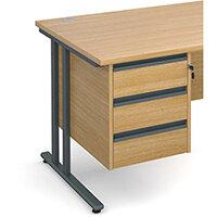 Maestro 25 GL 3 drawer fixed pedestal - oak
