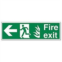Safety Sign Fire Exit Running Man Arrow Left 150x450mm Self-Adhesive Vinyl