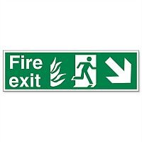 Stewart Superior Sign Fire Exit Arrow Down Right 450x150mm Self-adhesive Vinyl