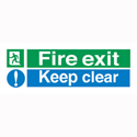 Fire Exit Keep Clear Self-Adhesive Vinyl Sign 150x450mm