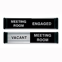 Stewart Superior Sliding Door Sign Meeting Room Vacant/Engaged W255xH52mm Aluminium and PVC