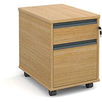 Mobile 2 drawer pedestal with graphite finger pull handles 600mm deep - oak
