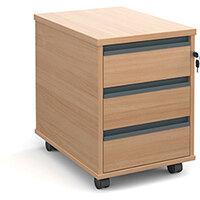 Mobile 3 drawer pedestal with graphite finger pull handles 600mm deep - beech