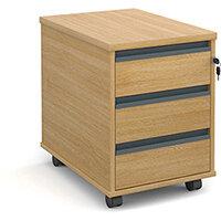 Mobile 3 drawer pedestal with graphite finger pull handles 600mm deep - oak