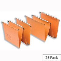 Elba Ultimate AZ0 Foolscap Vertical Suspension File 15mm V-Base Orange Pack 25 Ref L206000