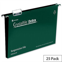 Rexel Crystalfile Extra Foolscap Vertical Suspension File Green Plastic 50mm Pack 25