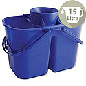 Duo Mop Bucket Colour-coded 7 and 8 Litre Sections Total 15 Litre Blue SPC/DMB/B